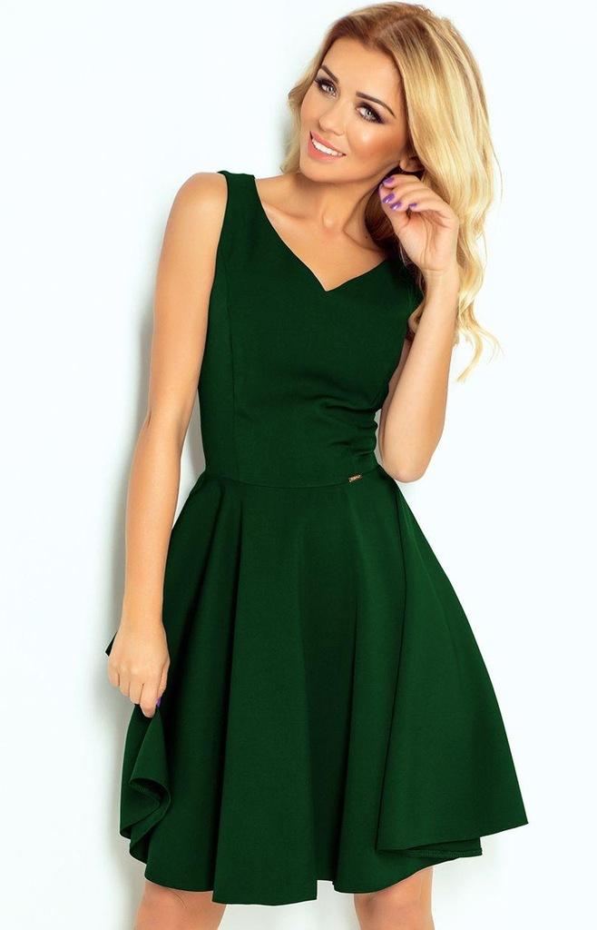 114-10 Rozkloszowana sukienka, zielony, XL