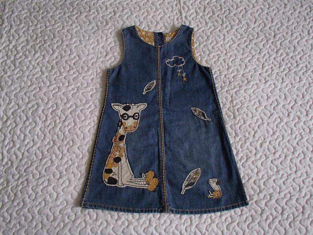 Next sukienka dżins i żyrafa piękna roz 92