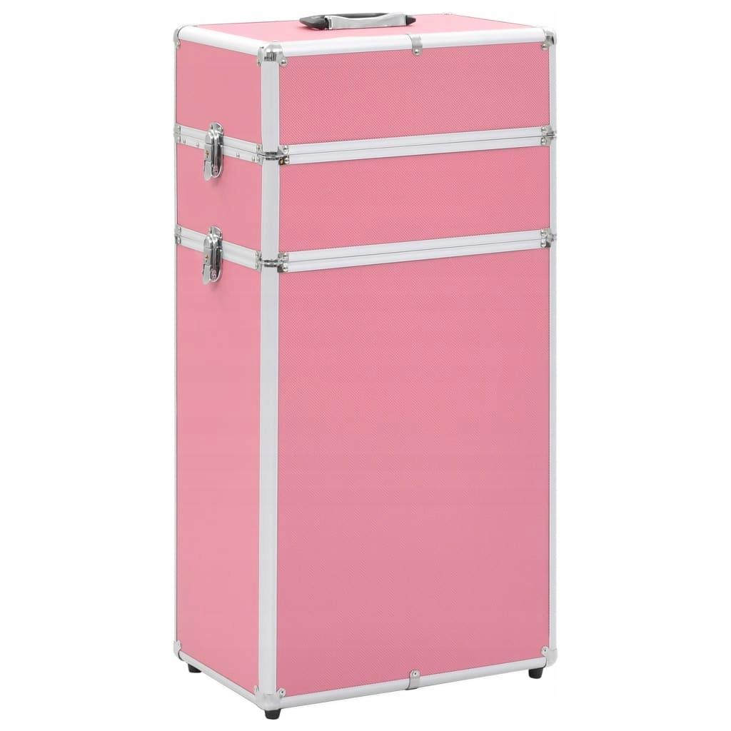 Wózek na akcesoria do makijażu aluminiowy różowy