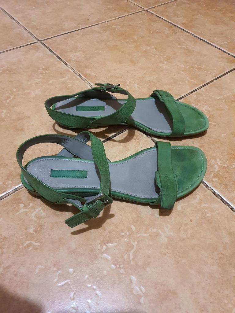 ECCO sandały zielone skóra 38