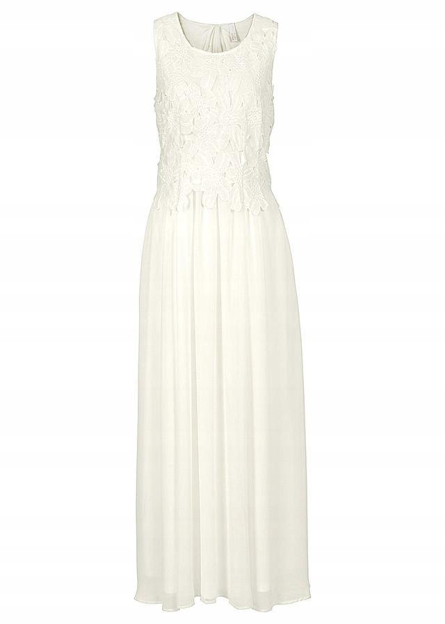 B348 BPC Długa sukienka z koronką r.36