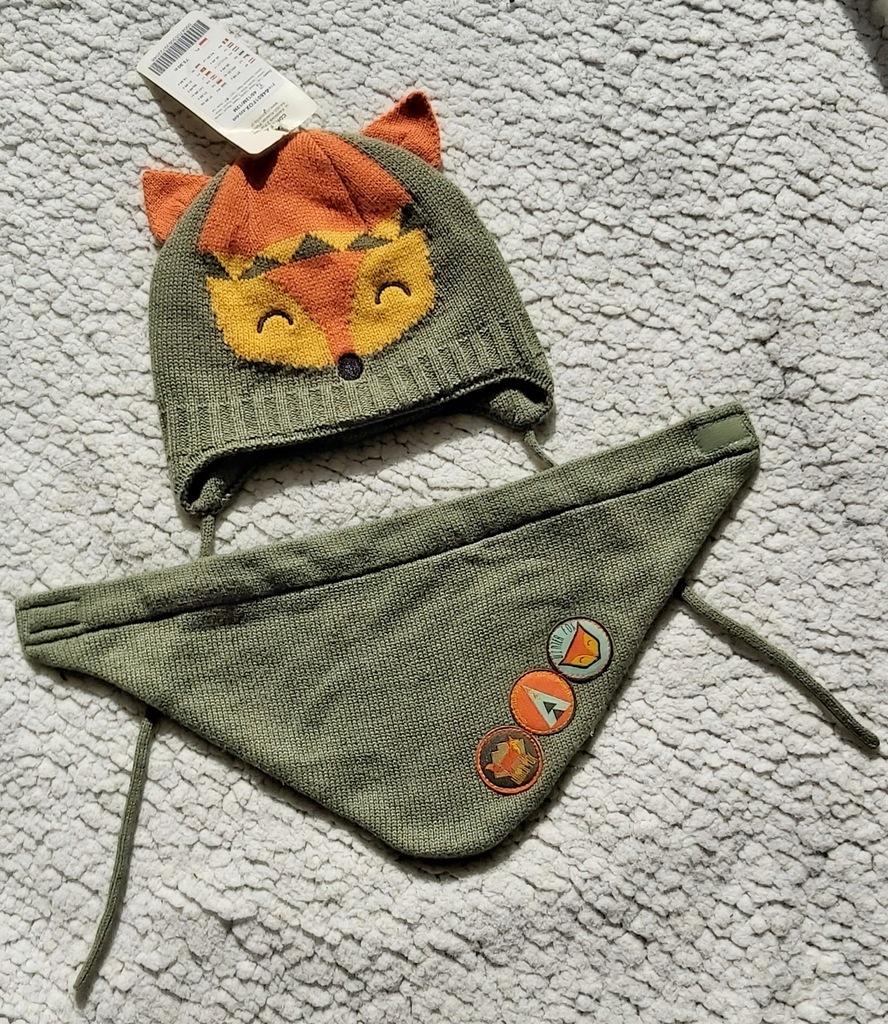 Komplet czapka szalik Coccodrillo winterfox 46 12m