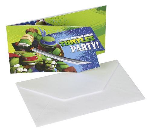Zaproszenia Wojownicze Żółwie Ninja 6 szt. Party