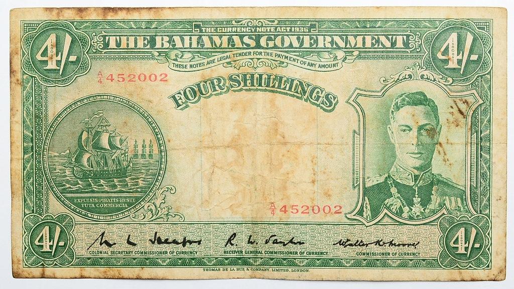28.Bahamy, 4 Szylingi 1936 rzadki, P.9.b, St.3-