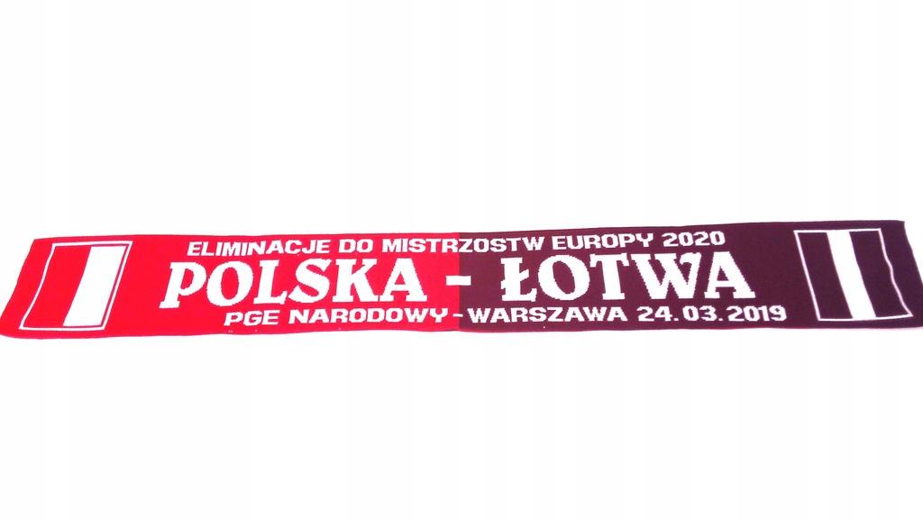SZAL KIBICA - POLSKA-ŁOTWA DZIANY DWUSTRONNY .