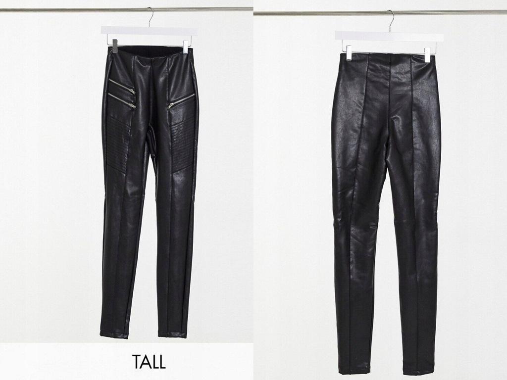 New Look Tall Czarne legginsy z imitacji skóry 42
