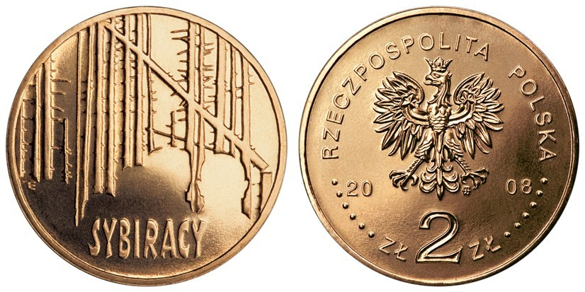 """Moneta okolicznościowa 2 zł """"Sybiracy"""" 2008"""
