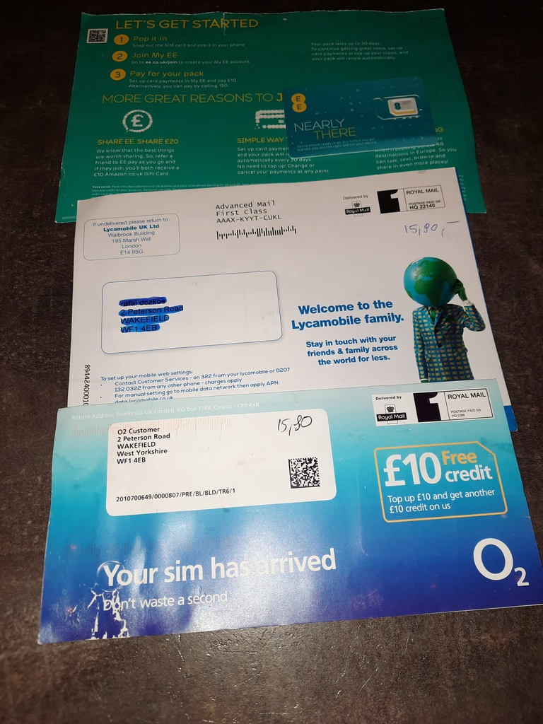 Karty SIM + kredyt UK