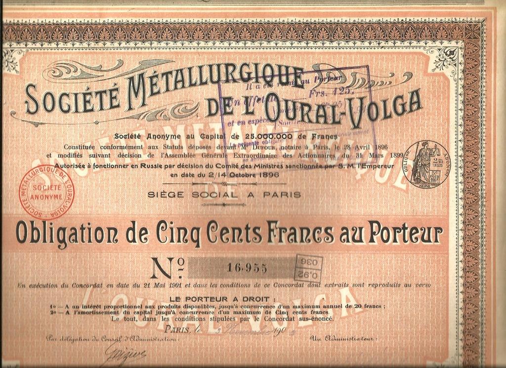 !TOWARZYSTWO METALURGICZNE URAL-WOŁGA! 1902!