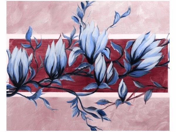 40x50cm obraz druk Niebiesko-różowy kwiat magnolii