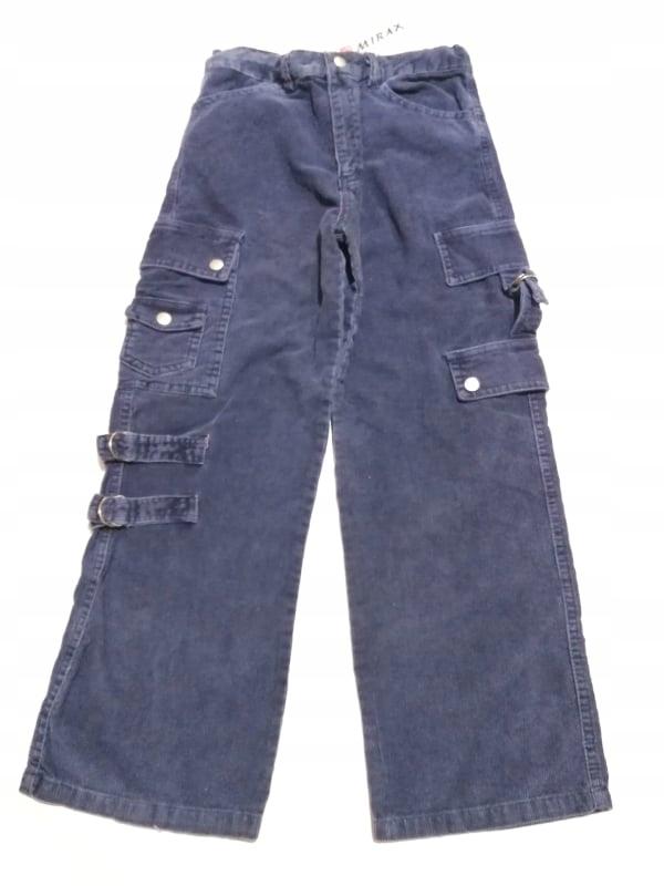 Spodnie dziecięce Bojówki Granatowe Sztruks 140
