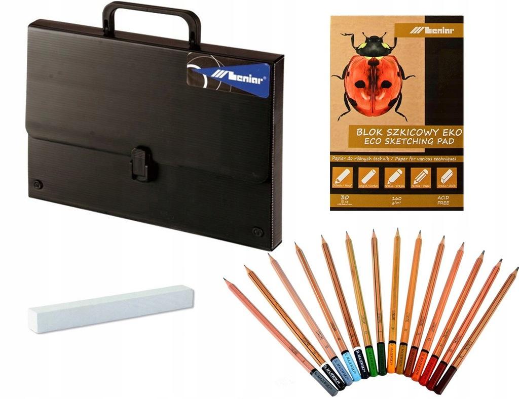 Zestaw do szkicowania teczka B3 blok pastel ołówki