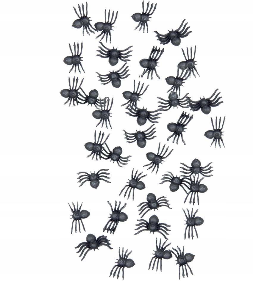 Pająk plastikowy czarny 70 szt na Halloween party