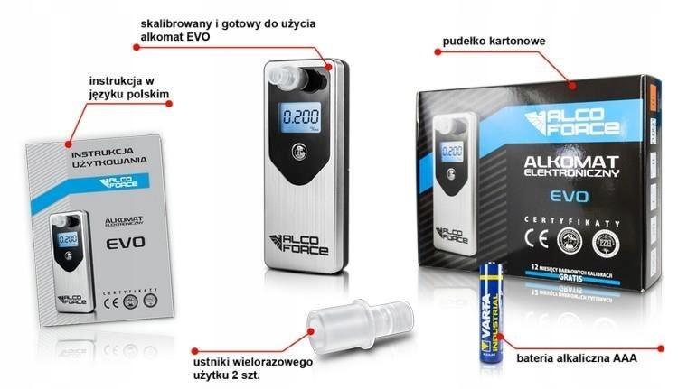 Alkomat elektrochemiczny AlcoForce EVO - srebrny +