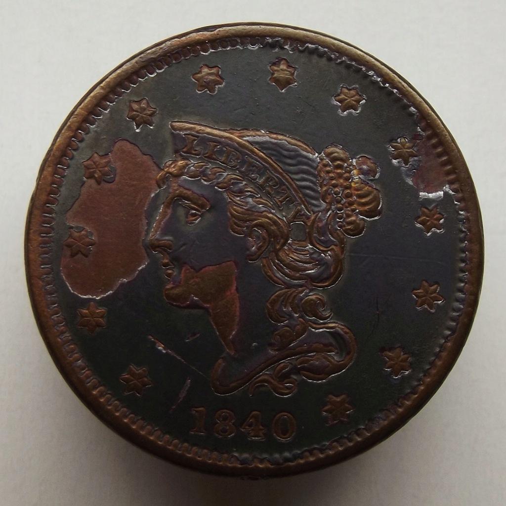 1840 r. - 1 cent pokryty dziwną substancją