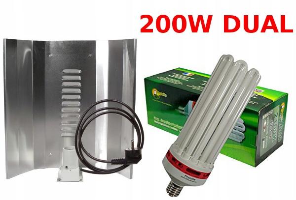 ZESTAW CFL200W LAMPA ODBŁYŚNIK WZROST+KWITNIENIE