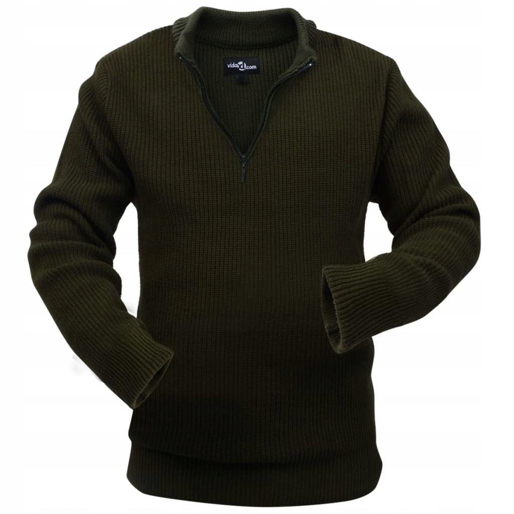Sweter męski do pracy, ciemnozielony, rozmiar XL