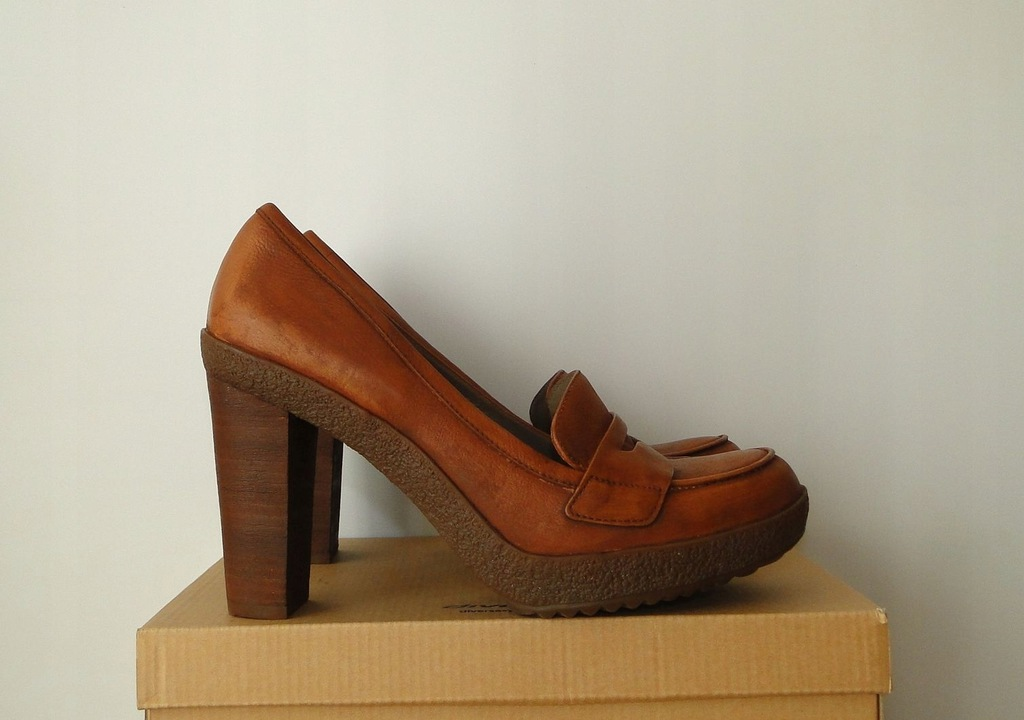 Buty ECCO Leather Wysoki Obcas Leather Brown