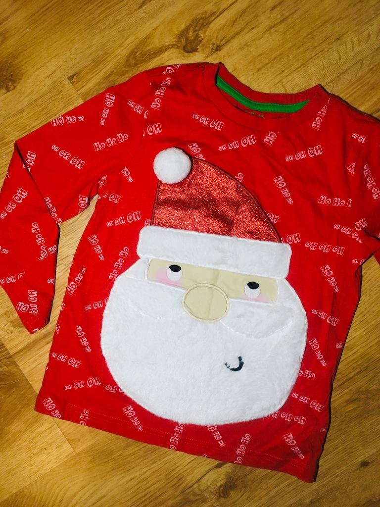 Bluzka F&F 122 cm Boże Narodzenie Mikołaj