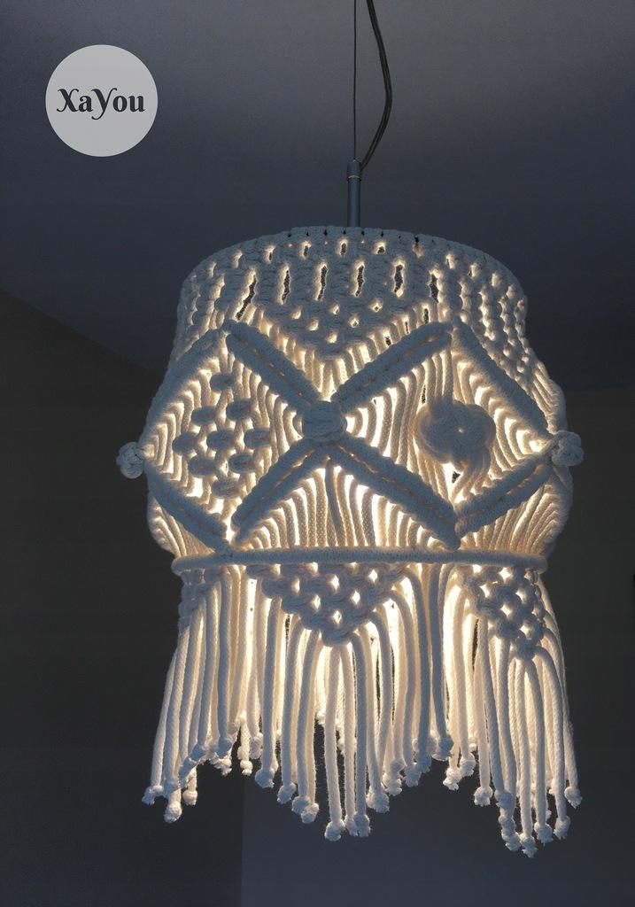 żyrandol abażur makrama klosz lampa boho hand made