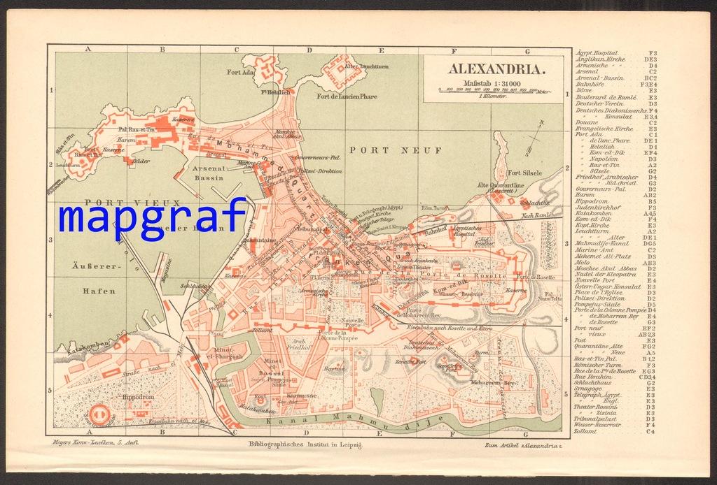 ALEKSANDRIA stary plan miasta z 1897 roku