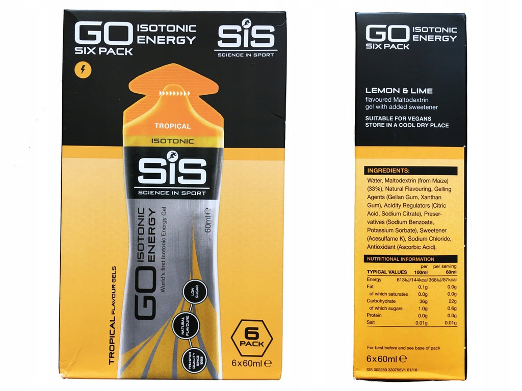 6x60 ml - Żel SIS Energy GO Isotonic TROPICAL