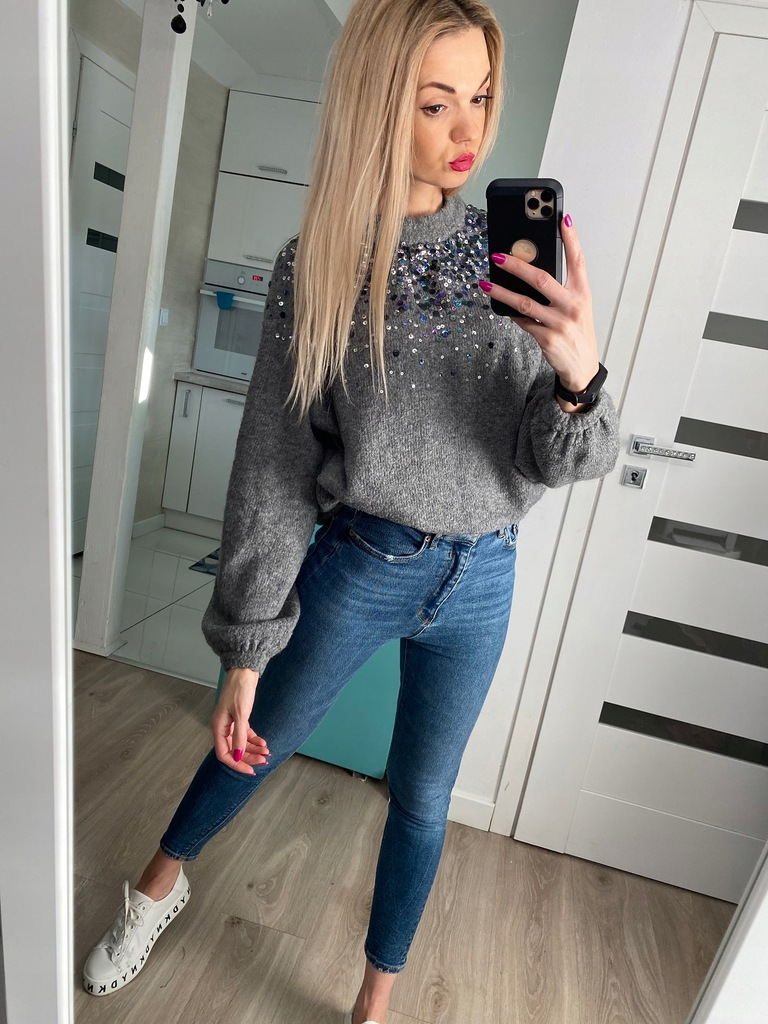 Reserved sweter szary melanż cekiny oversize S M