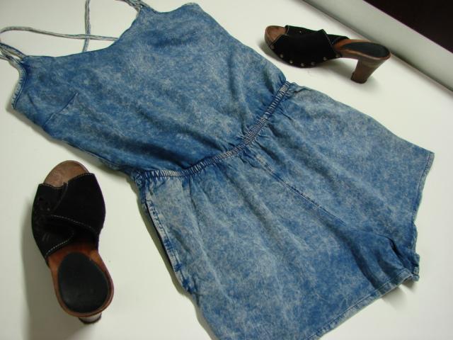 NEW LOOK Marmurkowy Jeansowy Kombinezon Kieszenie