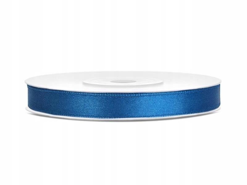 Tasiemka satynowa, niebieski, 6mm/25m