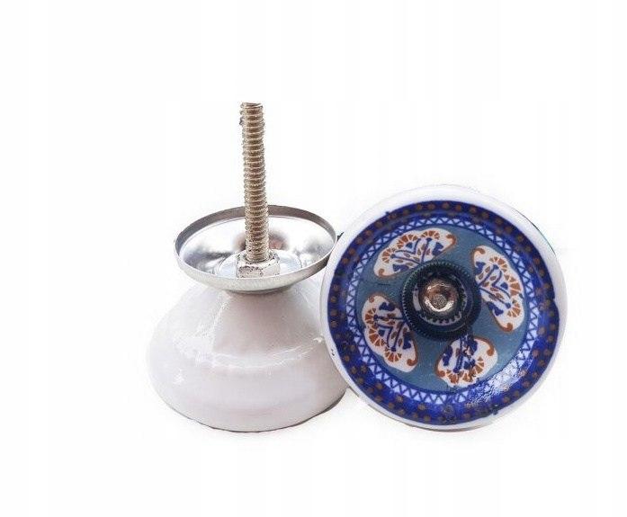 Gałka meblowa BLUE porcelana ręczna robota 4,2cm