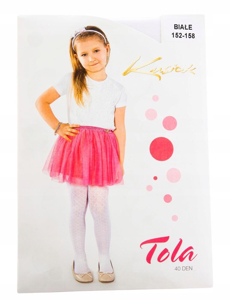 TXM Rajstopy dziewczęce we wzory 152/158 biały