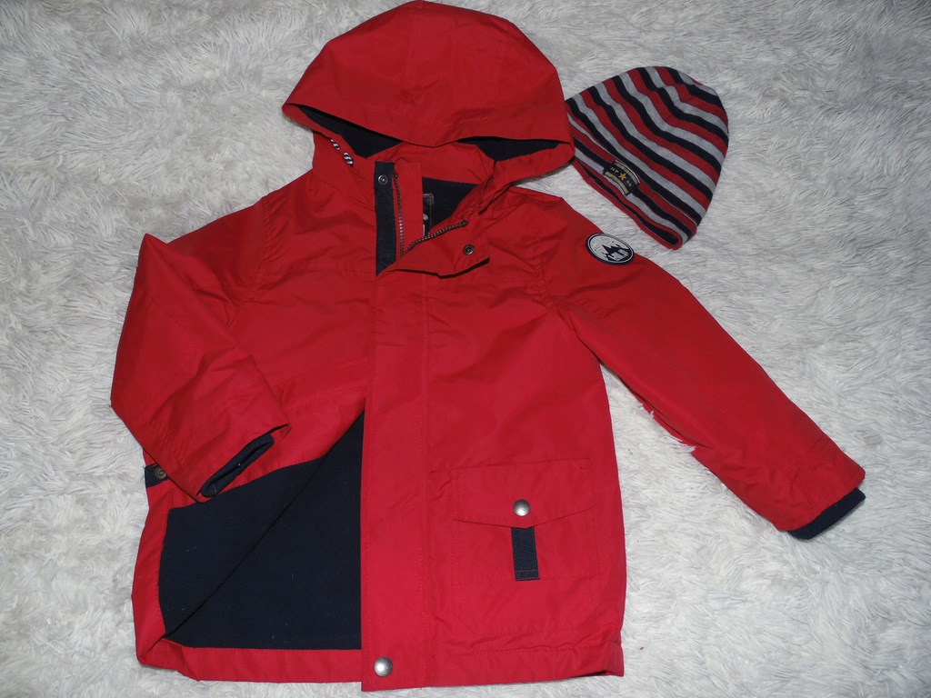 F&F Dłuższa kurteczka polar j.nowa+czapka 110