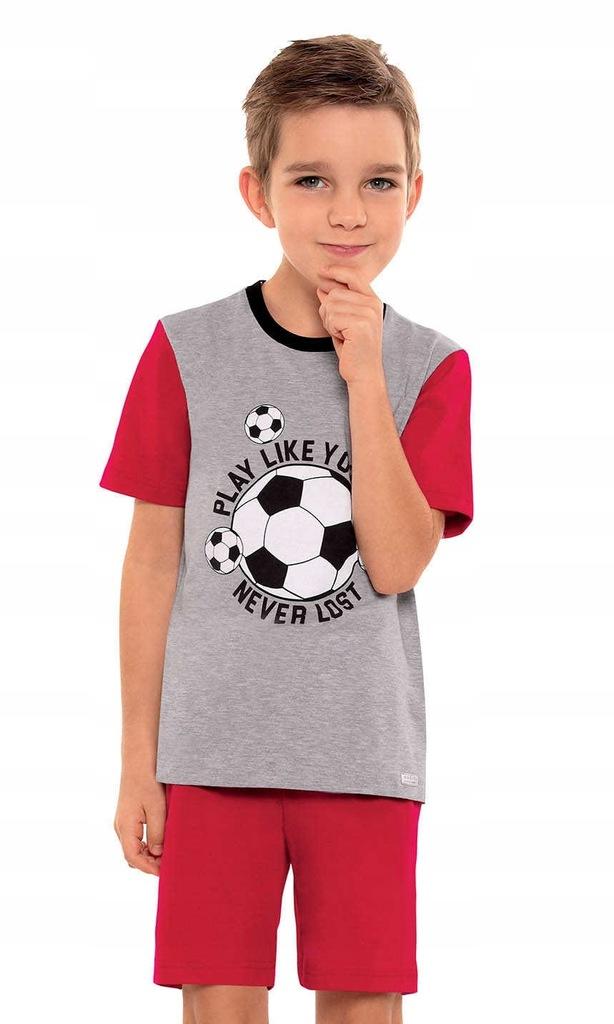 Piżama chłopięca wzór, roz104, kr. rękaw, spodnie