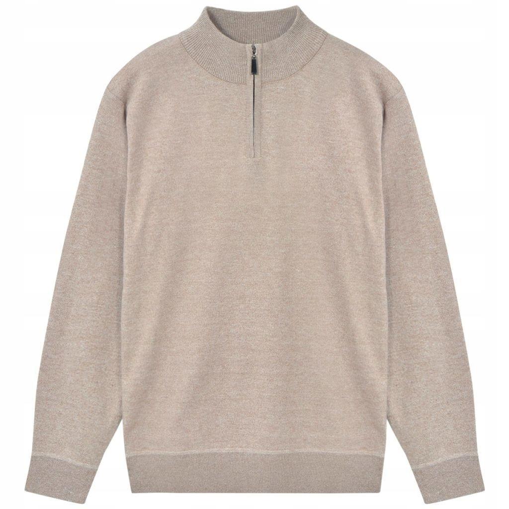 Sweter męski z suwakiem, beżowy, rozmiar XL