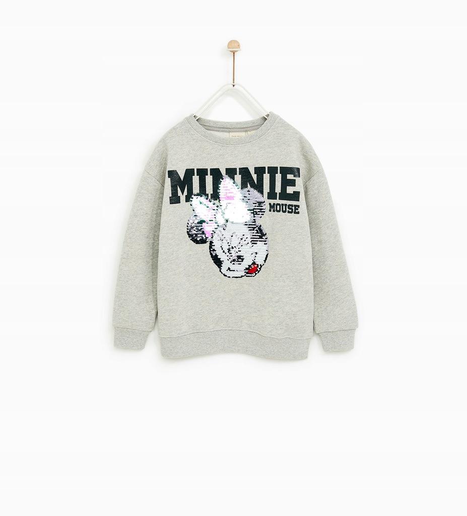 ZARA szara bluza z Minie Mouse podwójne cekiny 164