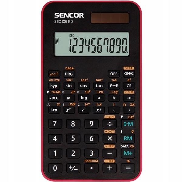 Sencor Kalkulator SEC 106 RD, czerwona, szkolny, 1