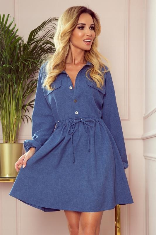 Koszulowa sukienka z guzikami i długim rękawem S