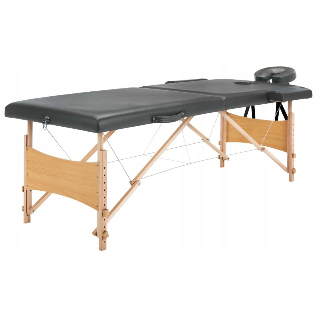 Stół do masażu z 2 strefami, drewniana rama, antra