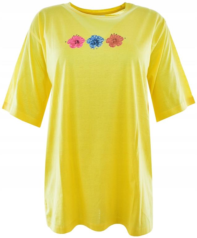 tBW0984 żółty t-shirt z printem 46