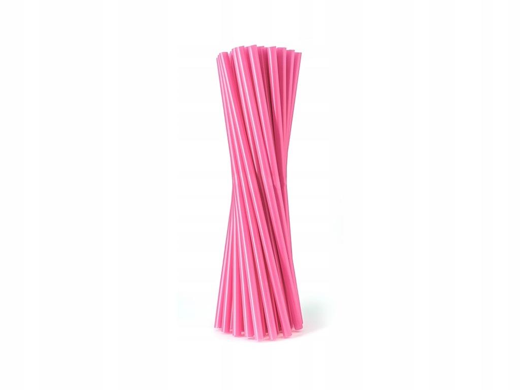 Słomki rurki różowe proste 24 cm 500 szt Urodziny