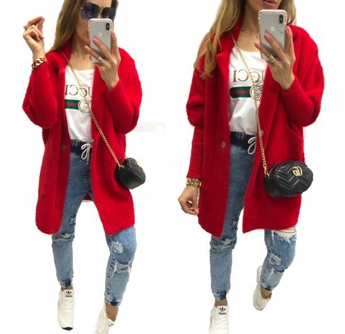 Płaszcz alpaka damski czerwony