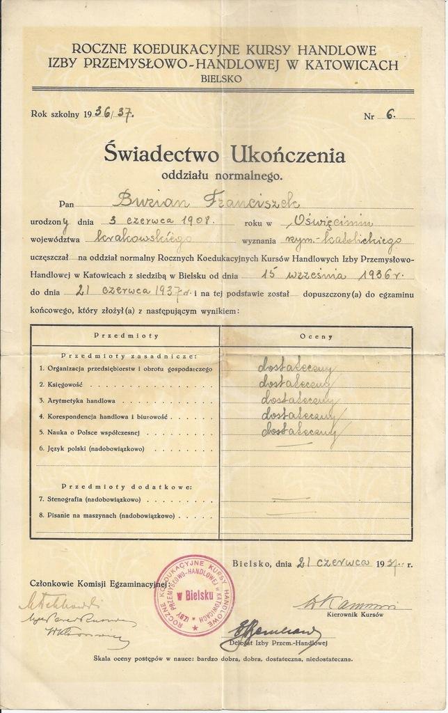 KURSY HANDLOWE KATOWICE BIELSKO ŚWIADECTWO 1937