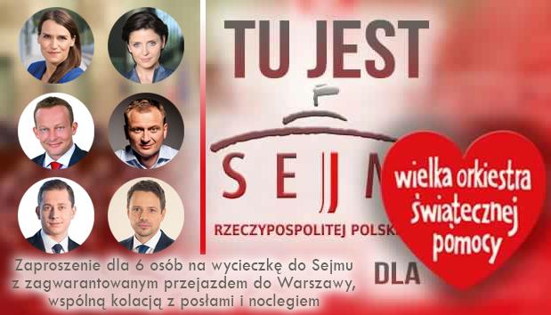 Zaproszenie dla 6 osób na wycieczkę do Sejmu RP.