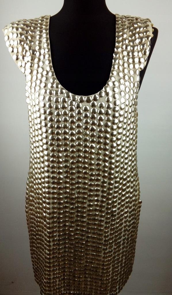 Złota beżowa sukienka TOPSHOP weselna 40