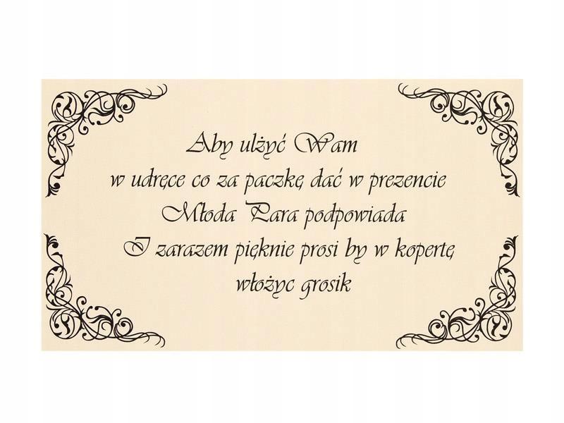 Wkładki do Zaproszeń Ślubnych 25szt Wesele Bilecik