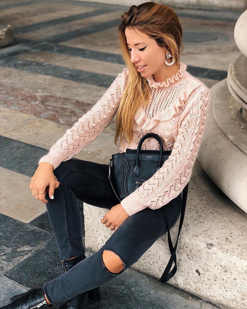 Zara sweter z falbankami pudrowy róż 36 S