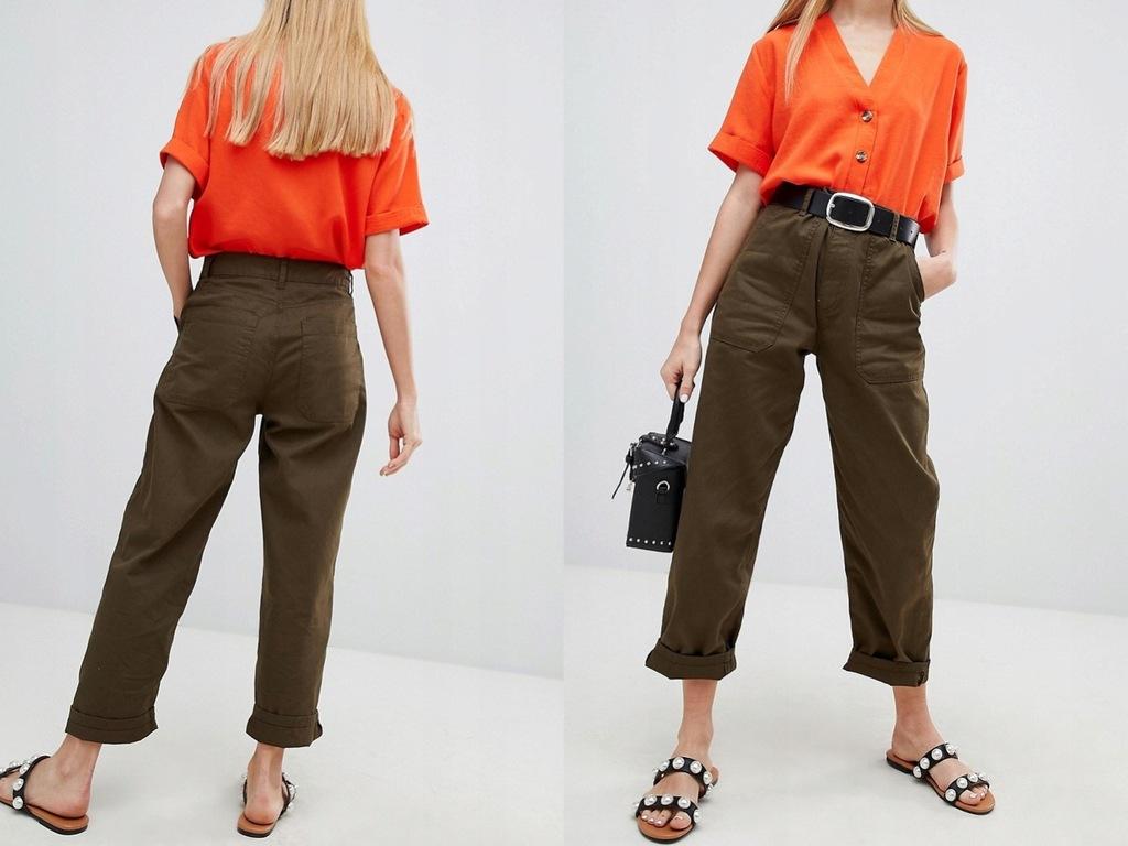 New Look - Proste spodnie z kieszeniami khaki XL