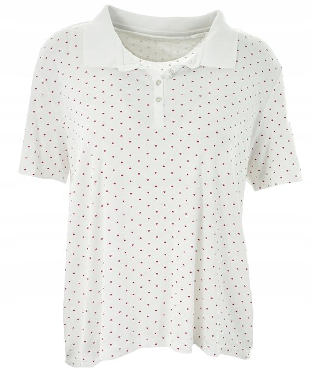 gVV0516 C&A biała koszulka polo w serduszka 50