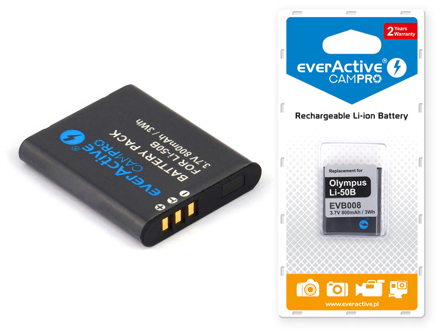 Bateria everActive do PENTAX WG-2 GPS