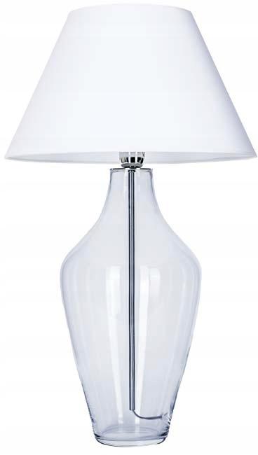 Lampa stołowa szklana z białym abażurem 1xE27 60W